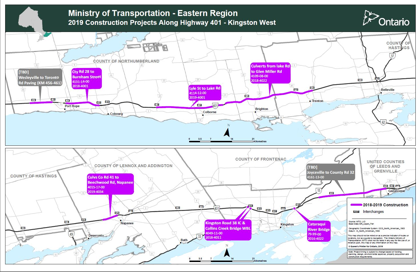 Highway 401 Kingston West Map