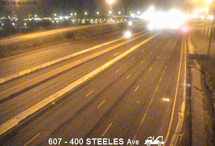Webcam of East side of Highway 400 near Steeles Avenue courtesy of the MTO
