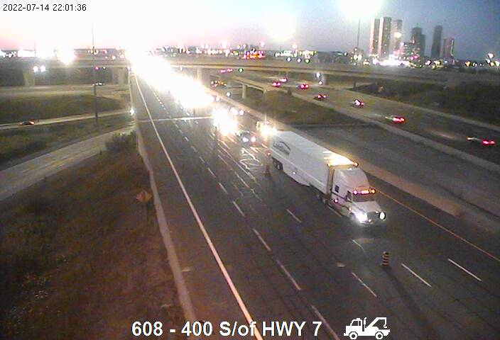 Webcam of West side of Highway 400 near Highway 407 courtesy of the MTO
