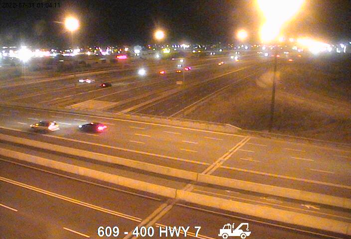 Webcam of East side of Highway 400 near Highway 7 courtesy of the MTO