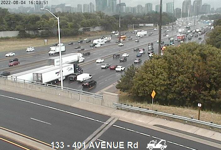 Webcam of South side of Highway 401 near Avenue Road courtesy of the MTO
