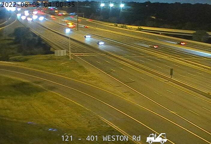 Webcam of South side of Highway 401 near Weston Road courtesy of the MTO
