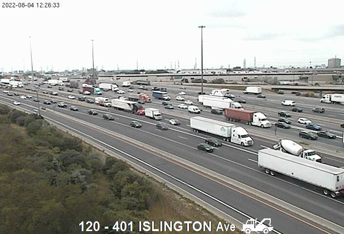 Webcam of South side of Highway 401 near Islington Avenue courtesy of the MTO