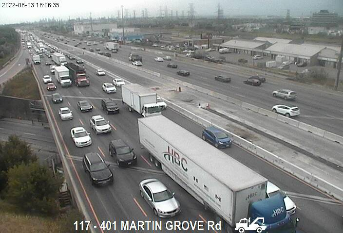 Webcam of South side of Highway 401 near Martin Grove Road courtesy of the MTO