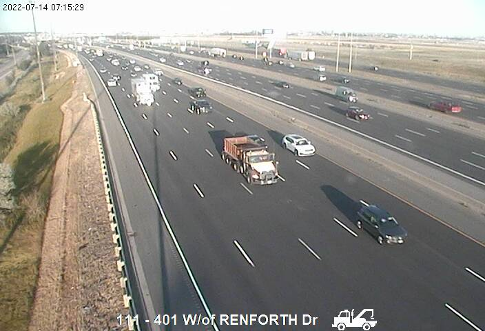 Webcam of South side of Highway 401 near Pearson Airport courtesy of the MTO