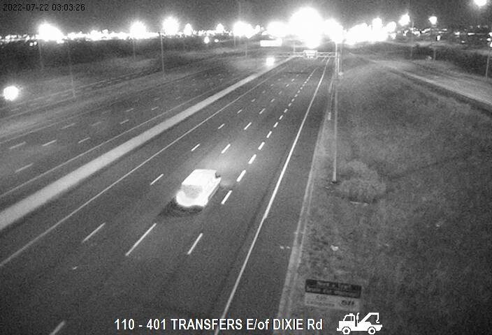 Webcam of South side of Highway 401 near Transfer (east of Dixie) courtesy of the MTO