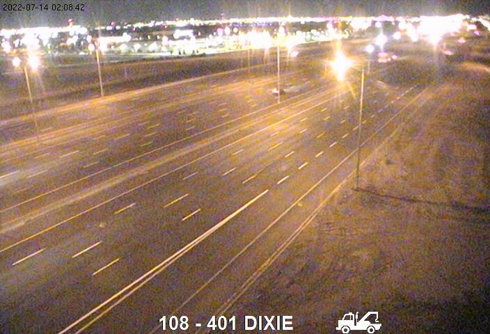 Webcam of South side of Highway 401 near Dixie Road courtesy of the MTO