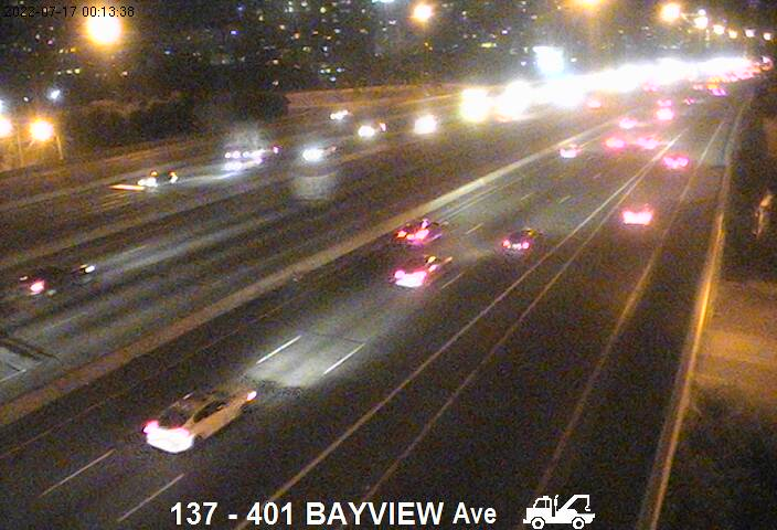 Webcam of South side of Highway 401 near Bayview Avenue courtesy of the MTO