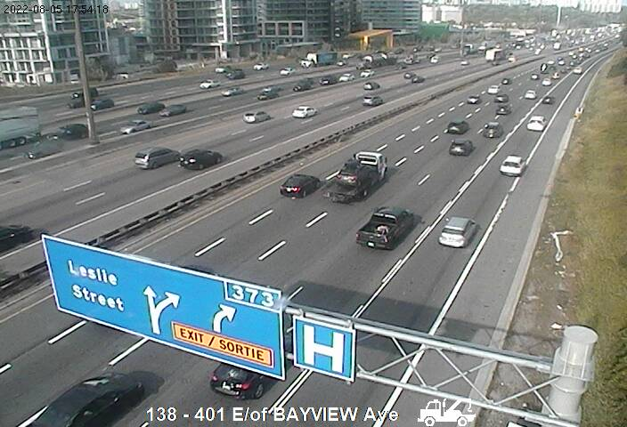 Webcam of South side of Highway 401 east of Bayview Avenue