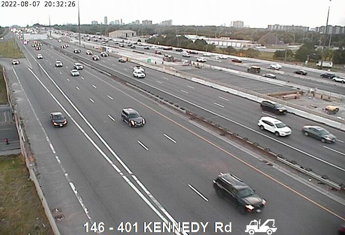 Webcam of South side of Highway 401 near Kennedy Rd courtesy of the MTO