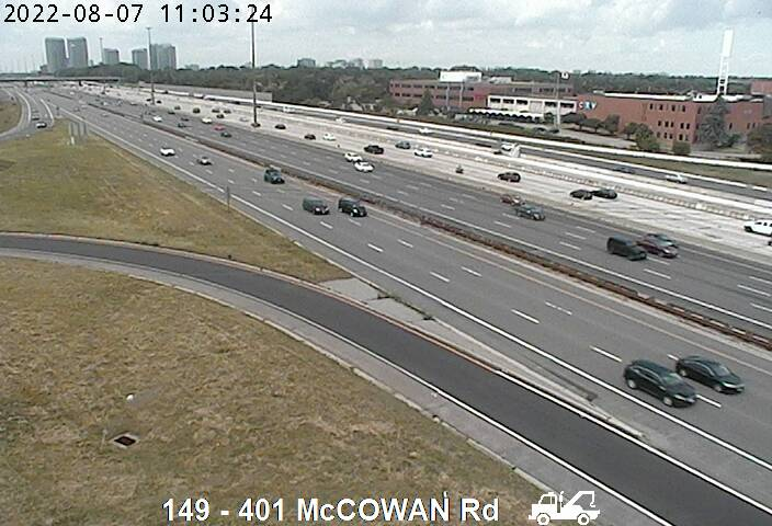 Webcam of South side of Highway 401 near McCowan Rd courtesy of the MTO