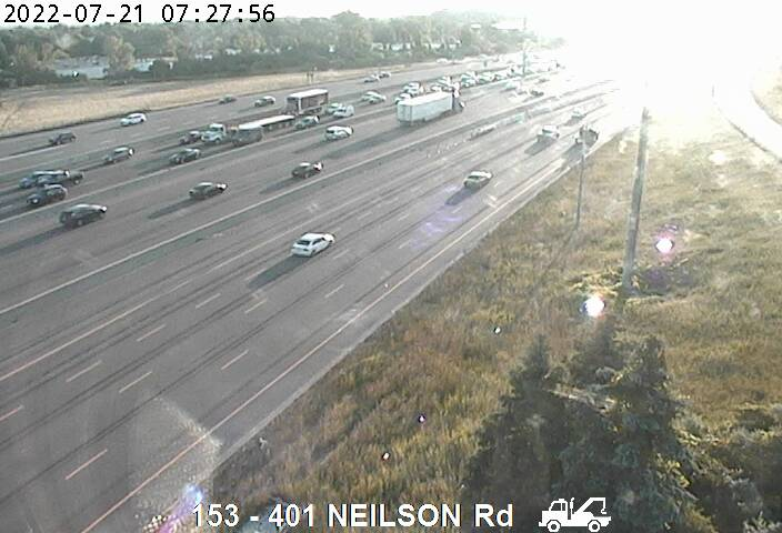 Webcam of South side of Highway 401 near Neilson Rd courtesy of the MTO