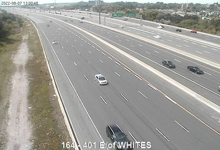 Webcam of South side of Highway 401 E of Whites Rd courtesy of the MTO