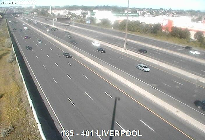 Webcam of South side of Highway 401 near Liverpool Rd Pickering courtesy of the MTO